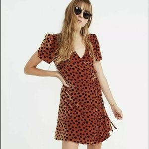 MADEWELL Velvet Wrap Dress in Leopard Dot XS Funky